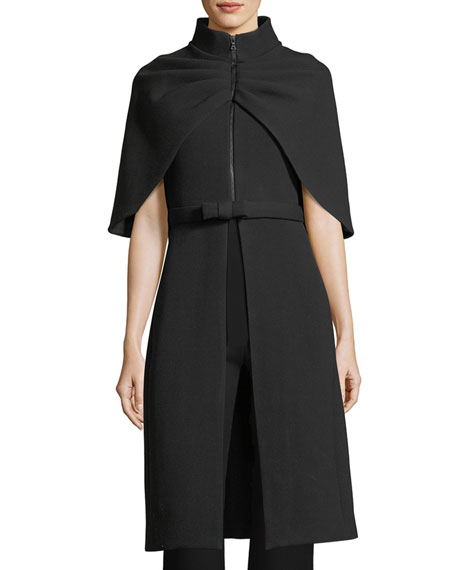 Brandon Maxwell Belted 1/2-Zip Cape Coat