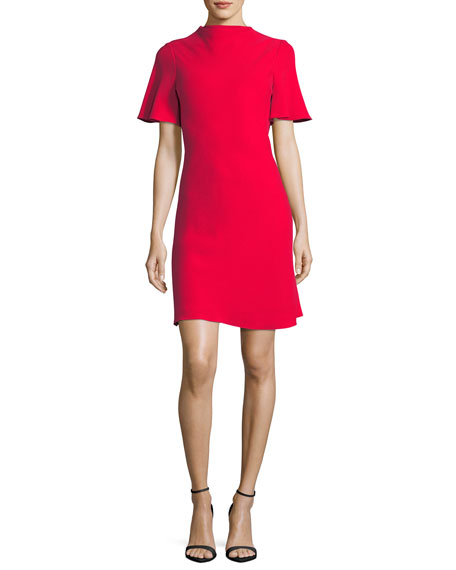Brandon Maxwell Drape-Back Crepe Cocktail Minidress