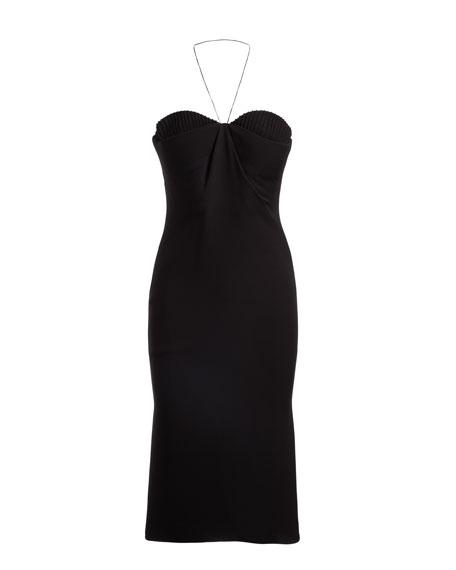 Halter Bustier Cocktail Sheath Dress