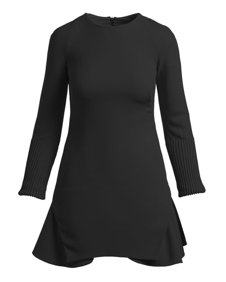 Long-Sleeve Crepe Flounce Cocktail Minidress