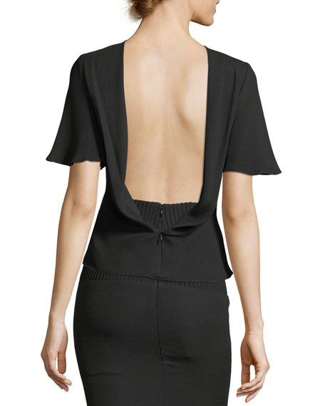 Cowl-Neck Drape-Back Crepe Blouse