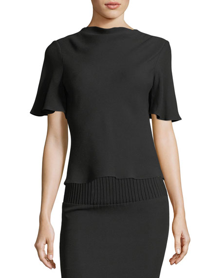 Brandon Maxwell Cowl-Neck Drape-Back Crepe Blouse and Matching