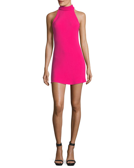 Mock-Neck Halter Cocktail Minidress