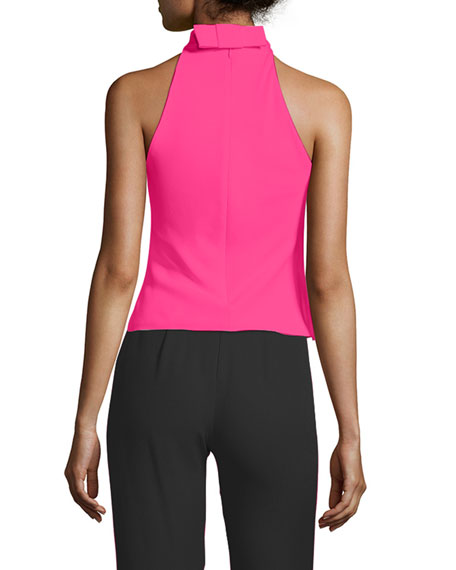 Bow-Detail Crepe Top