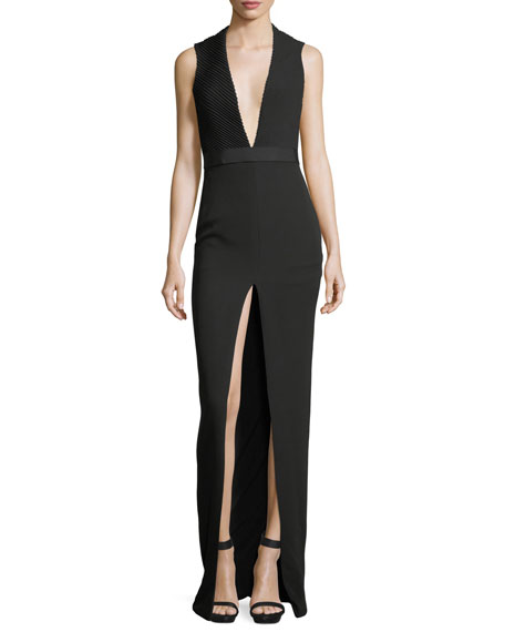 Mitered V-Neck Slit-Front Gown
