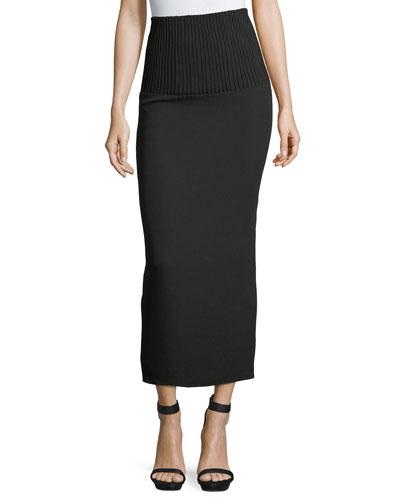 Ribbed-Waist Midi Pencil Skirt