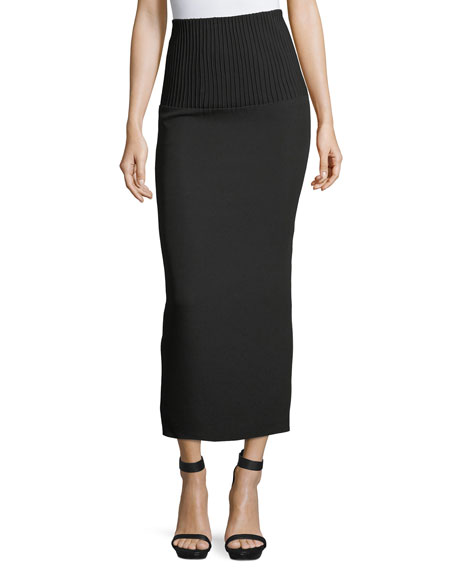 Ribbed-Waist Midi Pencil Skirt