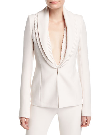 Ribbed-Collar Crepe Suiting Jacket