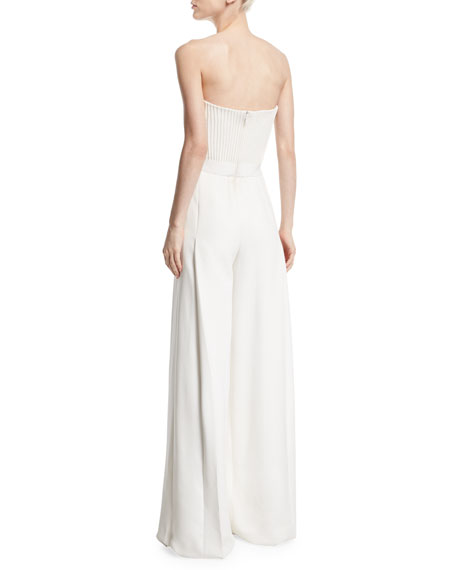 Strapless Ribbed-Bodice Wide-Leg Jumpsuit