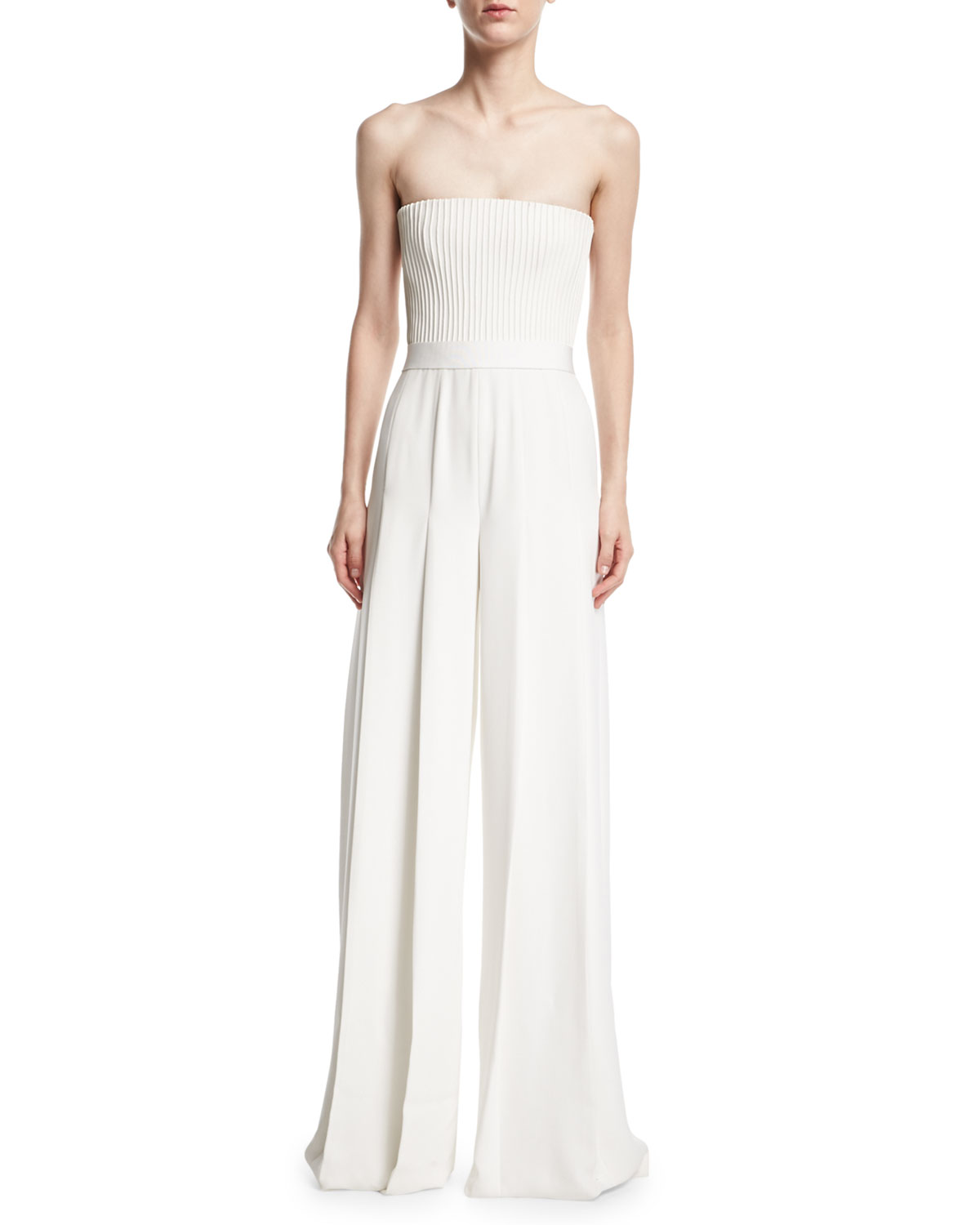 59a8b32beca Brandon Maxwell Strapless Ribbed-Bodice Wide-Leg Jumpsuit
