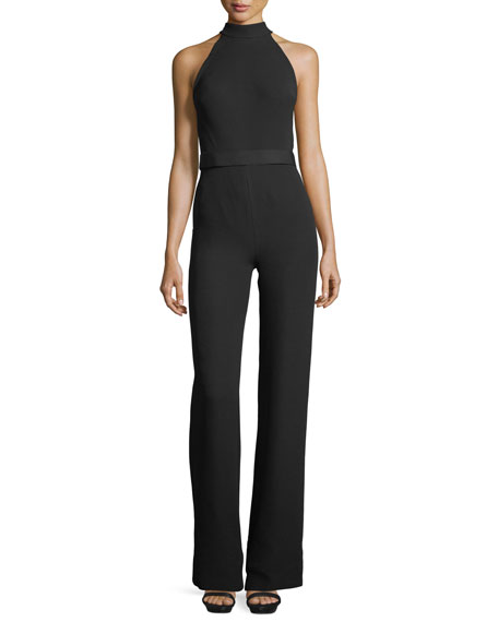 Brandon Maxwell Mock-Neck Bow-Detail Jumpsuit