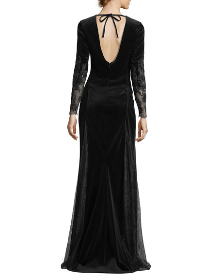 Long-Sleeve Embroidered Velvet Evening Gown with Lace