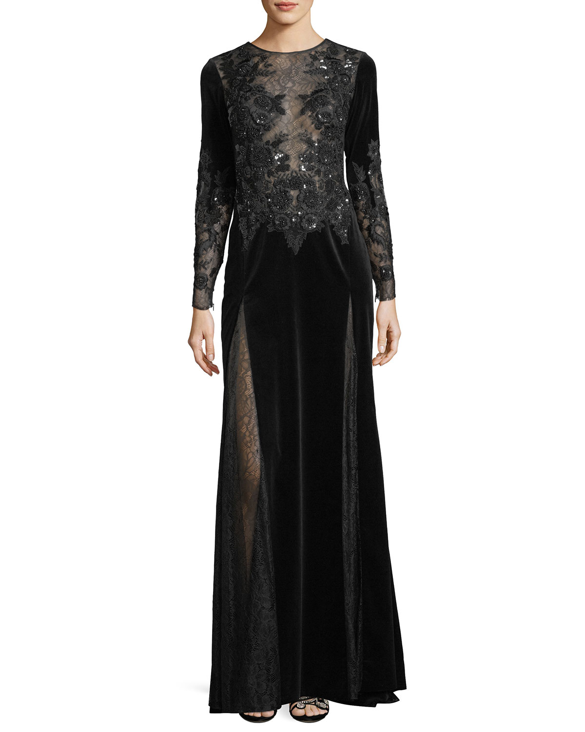 Zuhair Murad Long Sleeve Embroidered Velvet Evening Gown With Lace