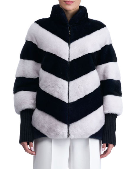 Chevron Mink Fur Jacket with Cashmere Sleeves