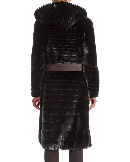 Micro Sheared Mink Coat with Hood & Leather Belt