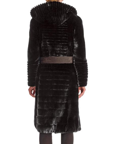 Micro Sheared Mink Coat with Hood & Leather Belt