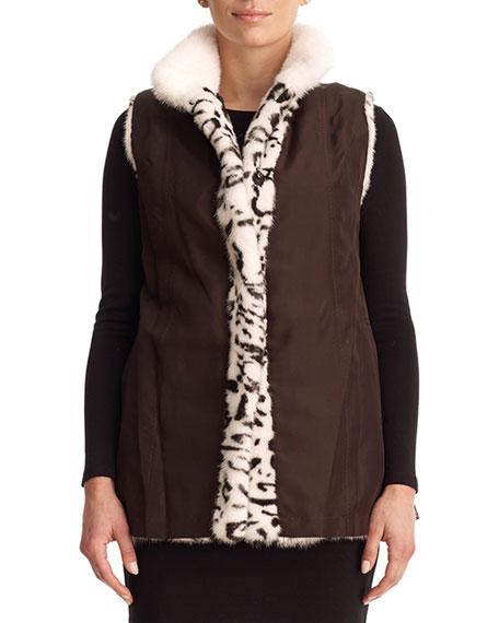 Leopard-Print Reversible Mink Fur Vest