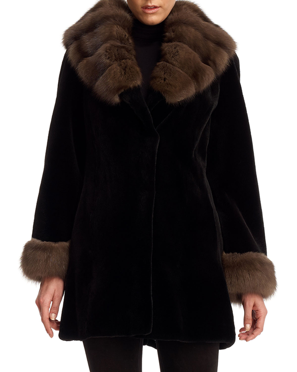 e4160cabf6b Quick Look. Gorski · Sheared Mink Fur Stroller Coat with Sable Trim