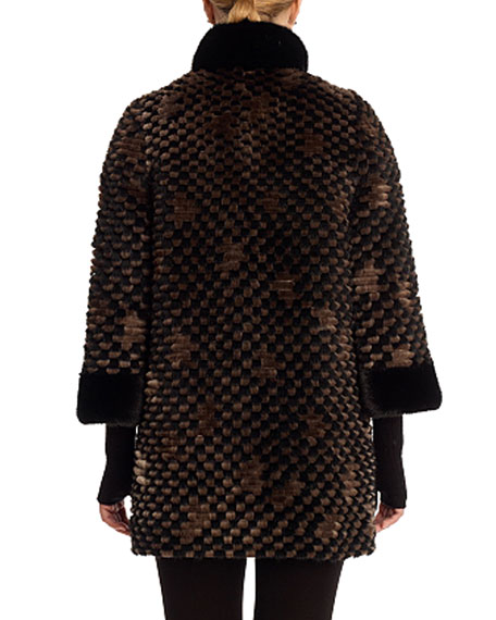 Mink with Beaver Stitching Coat with Cashmere Sleeves