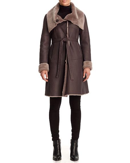 Belted Reversible Lamb Shearling Stroller Coat
