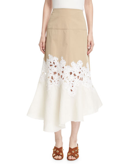 Derek Lam Lace-Inset Cotton Twill Midi Skirt and