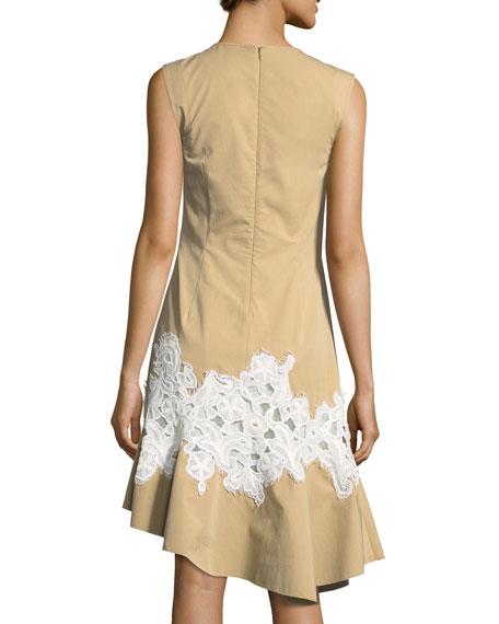 Twill Lace-Inset V-Neck Dress