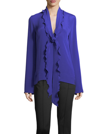 Derek Lam Ruffled Scarf-Neck Silk Blouse