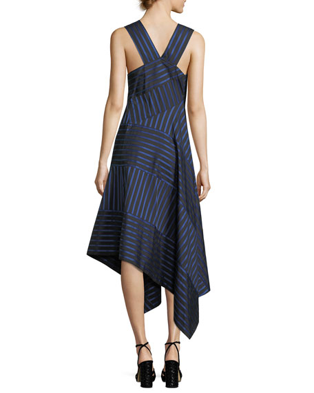 Shadow-Stripe Sleeveless Midi Dress