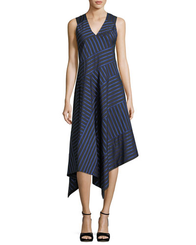 Shadow-Stripe Sleeveless Midi Dress