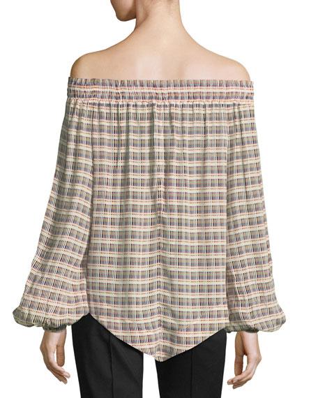 Basketweave-Print Off-the-Shoulder Blouse