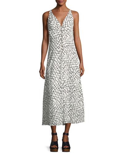 Net-Print Silk Georgette Slip Dress with Lacing Detail