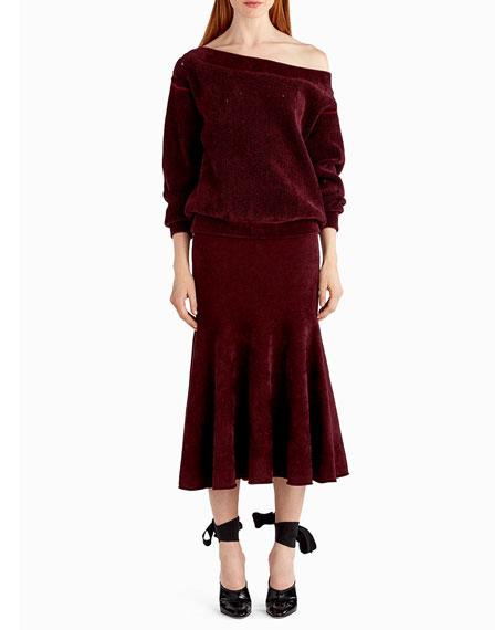 Jason Wu Chenille Velvet Off-the-Shoulder Sweater