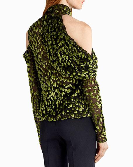 Flocked Velvet Cold-Shoulder Blouse