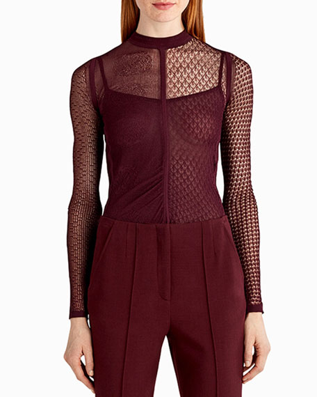 Jason Wu Mixed Lace Knit Sweater