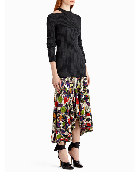 Floral-Print Asymmetric Midi Skirt