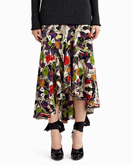 Jason Wu Floral-Print Asymmetric Midi Skirt