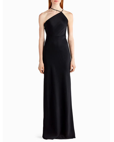 High-Neck Sleeveless Satin Slip Gown