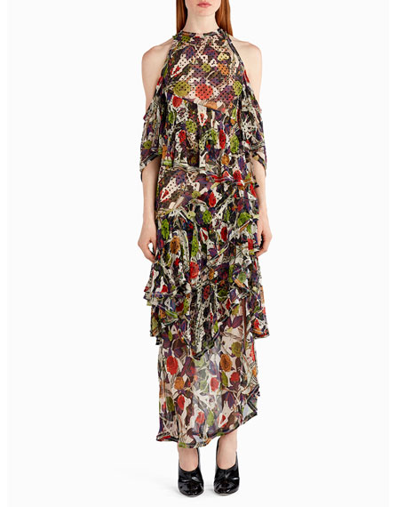 Strass Floral-Print Chiffon Cold-Shoulder Gown