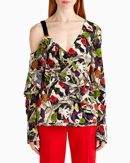 Jason Wu Floral-Print One-Shoulder Blouse