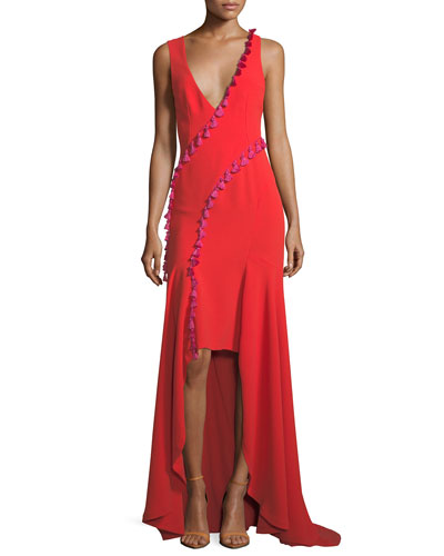 Sleeveless Plunging Crepe High-Low Evening Gown w/ Tassel Trim