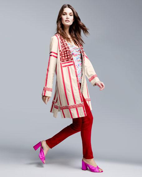 Andina Llama Printed Satin Silk Camisole Top
