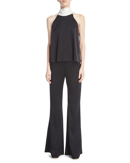 Signature High-Waist Satin Flare-Leg Pants
