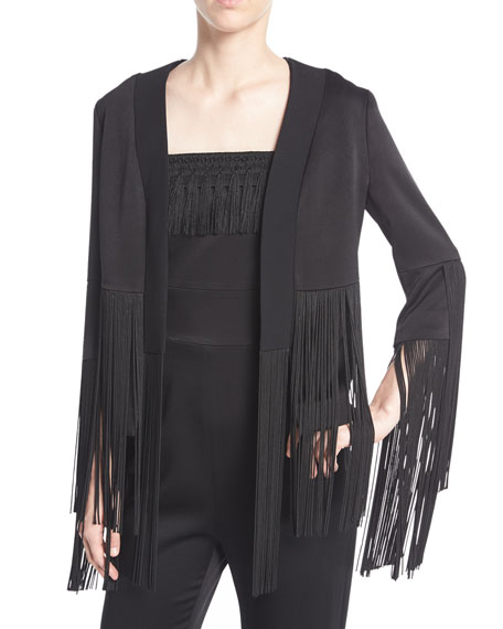 Galvan Cortado Fringe Satin Crepe Jacket and Matching