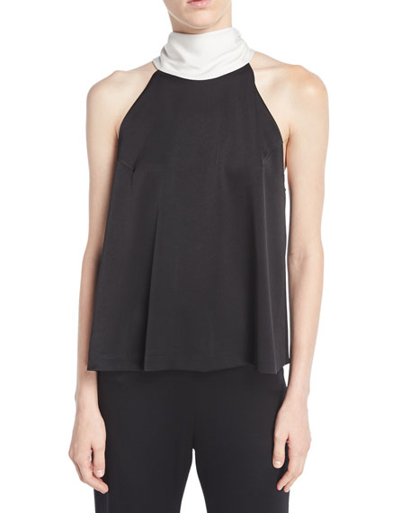 Signature Sash-Neck Satin Top