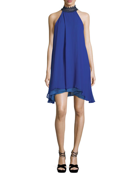 Galvan Catarata Halter-Neck Chiffon Tent Dress