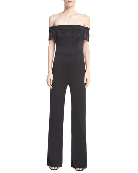 Galvan Conquista Off-the-Shoulder Fringe Jumpsuit
