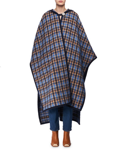 Check Mohair Oversized Cape