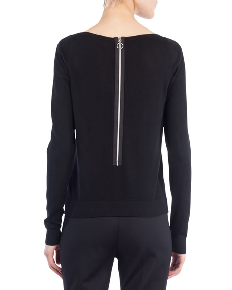 Boat-Neck Long-Sleeve Wool Sweater w/ Pearl Detail