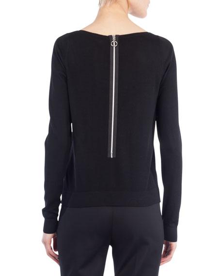 Boat-Neck Long-Sleeve Wool Sweater w/ Pearl Detail