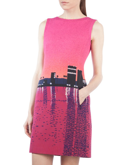 Sunset-Print Sleeveless Shift Dress